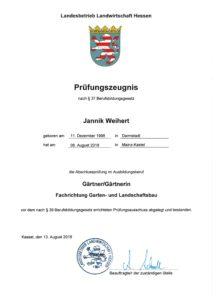 Prüfungszeugnis Jannik